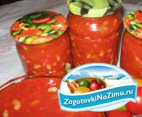 Фасоль с баклажанами в помидорном соусе