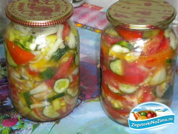 73Салат помидоры и огурцы на зиму рецепт