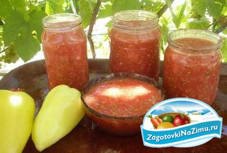 Рецепт: Аджика из помидор с яблоками на зиму острая