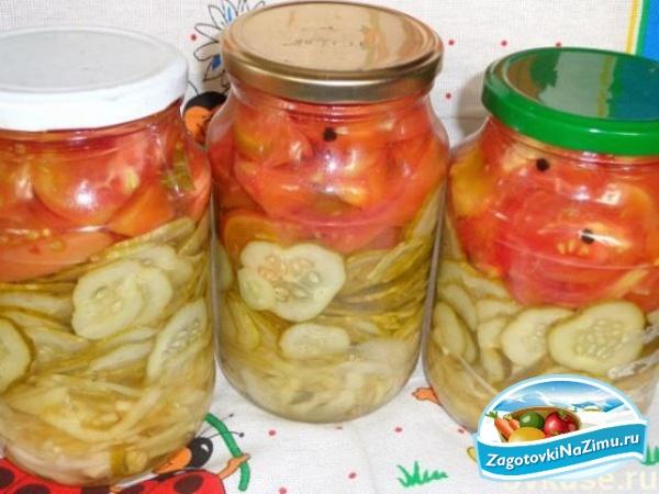 Помидоры с огурцами салат на зиму рецепты пальчики оближешь