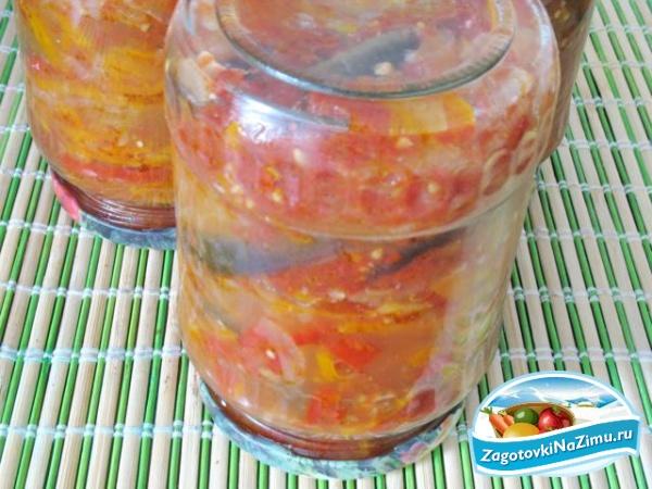 Слоеный салат из баклажан