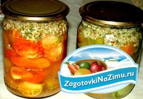 Закуска на зиму. Зеленые помидоры с грецкими орехами. Рецепт с пошаговыми фото