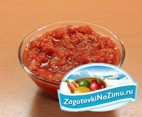 Приготовление приправы из помидоров с чесноком
