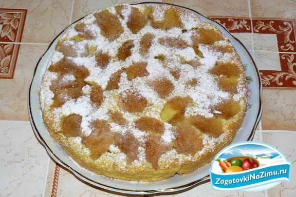 рецепт бисквита в духовке с яблоками