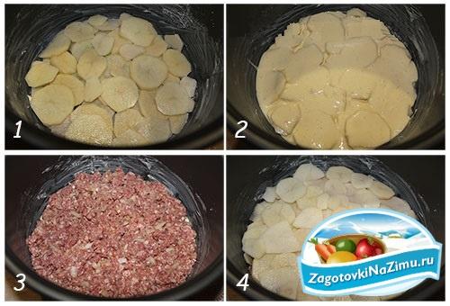 Кабачки с мясным фаршем в мультиварке поларис рецепт с пошаговый