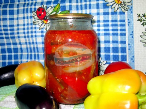 болгарский перец с баклажанами в томатном соке
