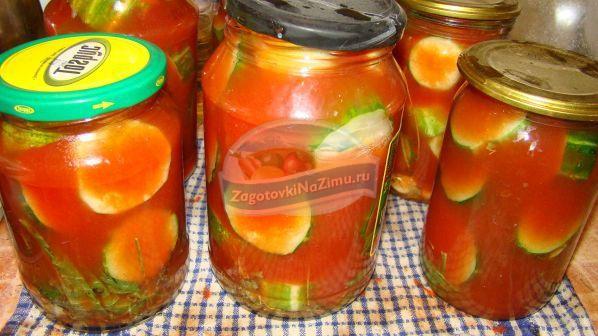 Огурцы кружочками в томате на зиму рецепты