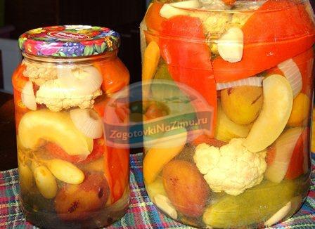 Ассорти из овощей с цветной капустой на зиму рецепты