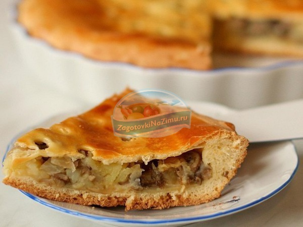 Пирог с картошкой и с грибами с фото пошагово